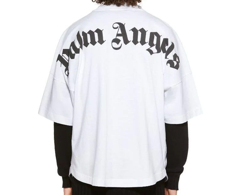 "!PALM ANGELS - Camiseta Classic Logo Over ""Branco/Preto"" -NOVO-"