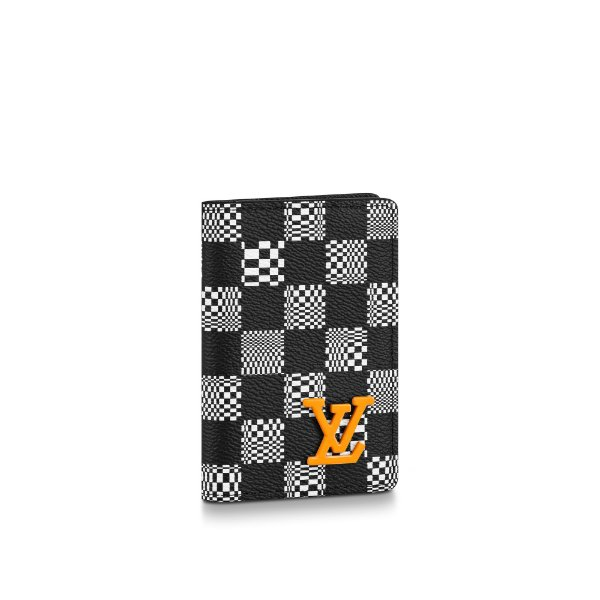 "!LOUIS VUITTON - Porta Cartão Pocket Organizer Damier Distorted ""Preto/Branco"" -NOVO-"