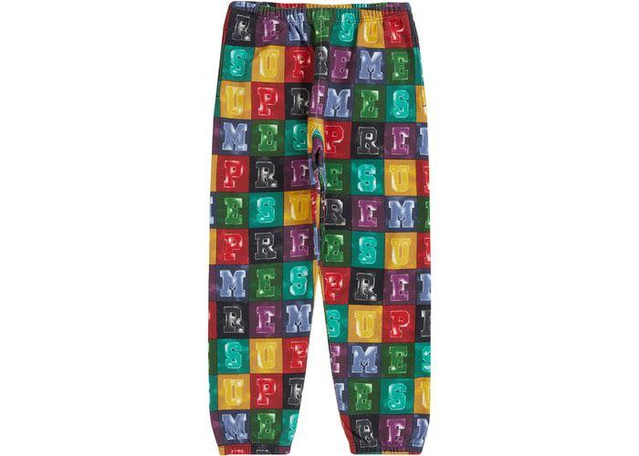 !SUPREME - Calça Moletom Blocks  ''Multicolor'' -NOVO-