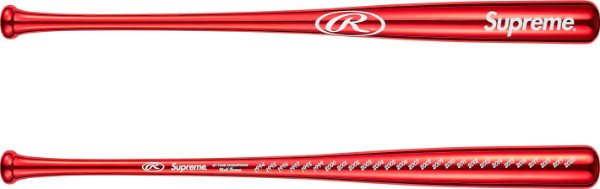 """ENCOMENDA - SUPREME x RAWLINGS - Bastão de Baseball Chrome Maple Wood """"Vermelho"""" -NOVO-"""