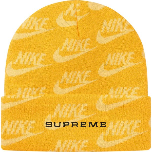 "ENCOMENDA - SUPREME x NIKE - Touca Jacquard Logos SS21""Amarelo"" -NOVO-"