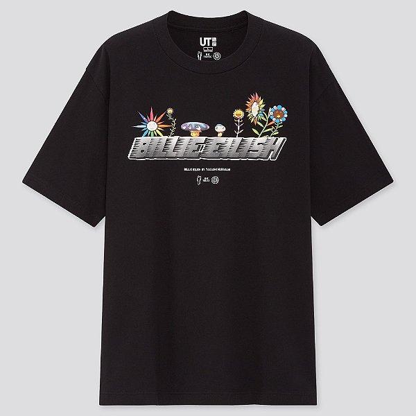 "!UNIQLO x BILLIE EILISH x TAKASHI MURAKAMI -  Camiseta Flowers Logo ""Preto"" -NOVO-"