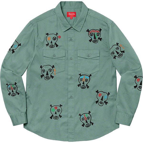 "ENCOMENDA - SUPREME x CLAYTON PATTERSON - Camisa Skulls Embroidered Work Shirt ""Verde"" -NOVO-"