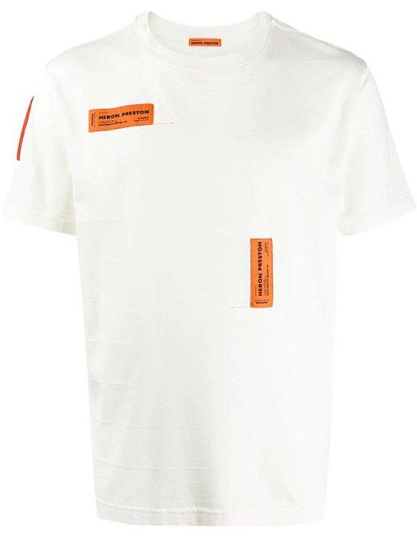"""HERON PRESTON - Camiseta Logo Patch AW19 """"Branco"""" - NOVO-"""