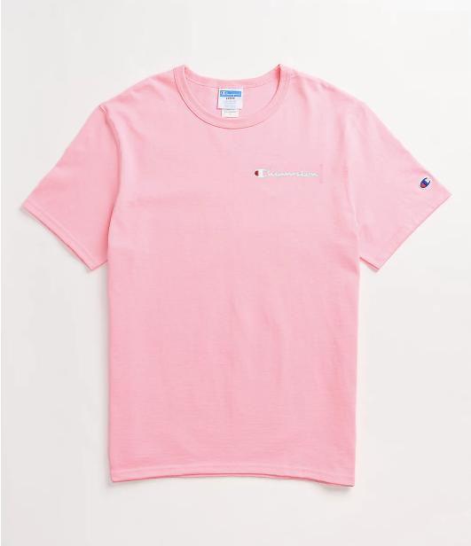 "CHAMPION - Camiseta Embroidered Scrip Logo ""Rosa"" -NOVO-"