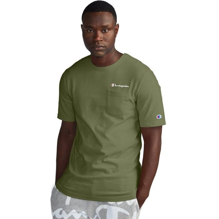 "CHAMPION - Camiseta Heritage Pocket ""Verde Oliva"" -NOVO-"