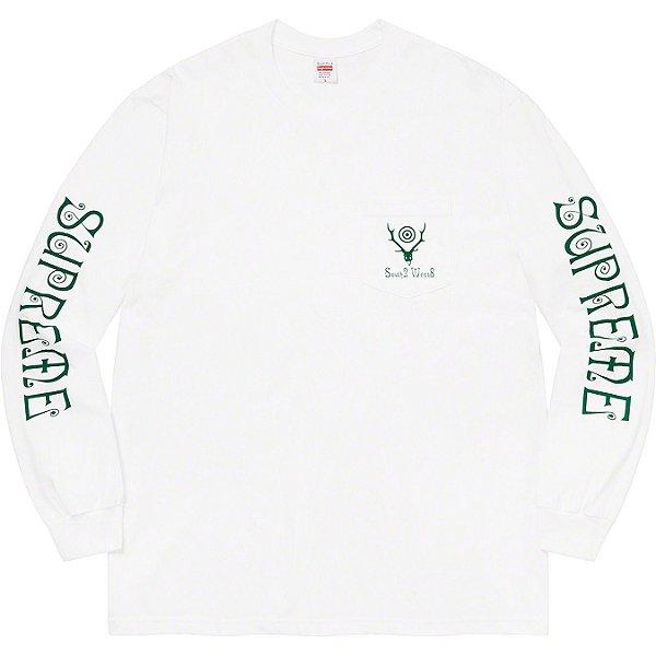 "ENCOMENDA - SUPREME x SOUTH2 WEST8 - Camiseta Manga Longa Pocket ""Branco"" -NOVO-"