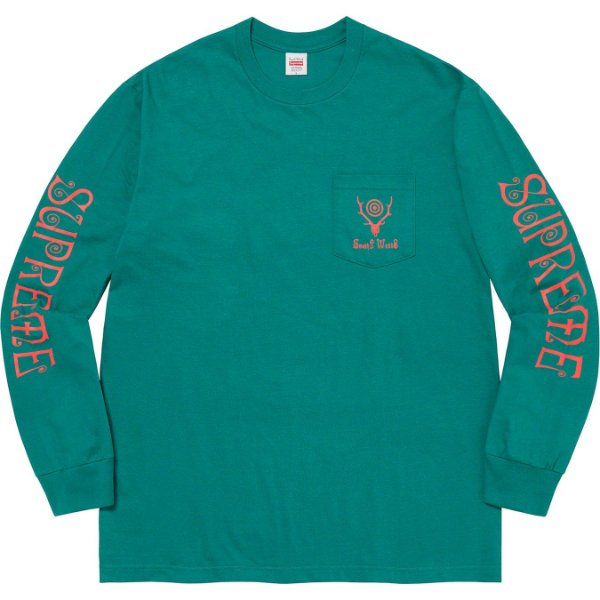 "ENCOMENDA - SUPREME x SOUTH2 WEST8 - Camiseta Manga Longa Pocket ""Verde"" -NOVO-"