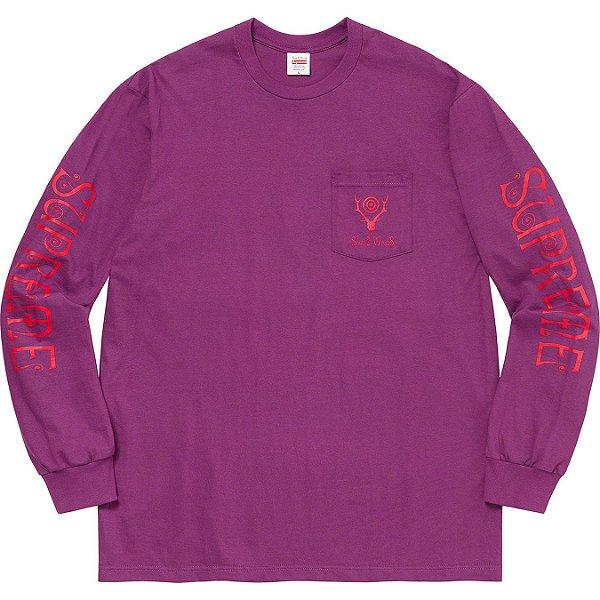 "ENCOMENDA - SUPREME x SOUTH2 WEST8 - Camiseta Manga Longa Pocket ""Roxo"" -NOVO-"