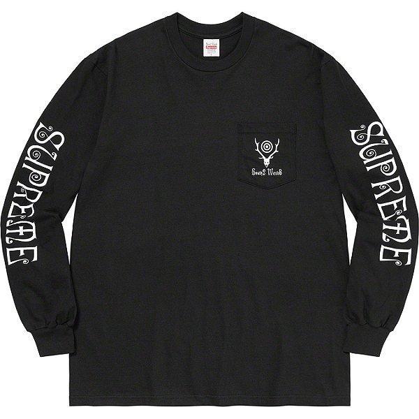 "ENCOMENDA - SUPREME x SOUTH2 WEST8 - Camiseta Manga Longa Pocket ""Preto"" -NOVO-"