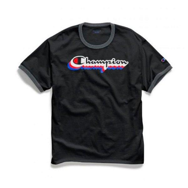 "CHAMPION - Camiseta Silk Logo Jersey Ringer ""Preto"" -NOVO-"