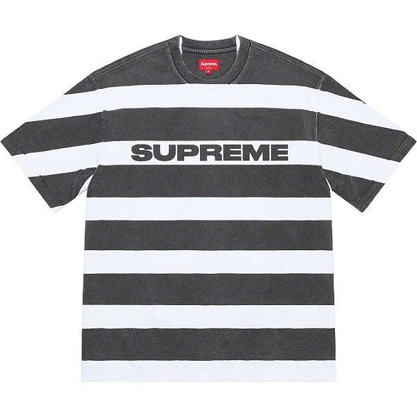 "ENCOMENDA - SUPREME - Camiseta Printed Stripe ""Preto"" -NOVO-"