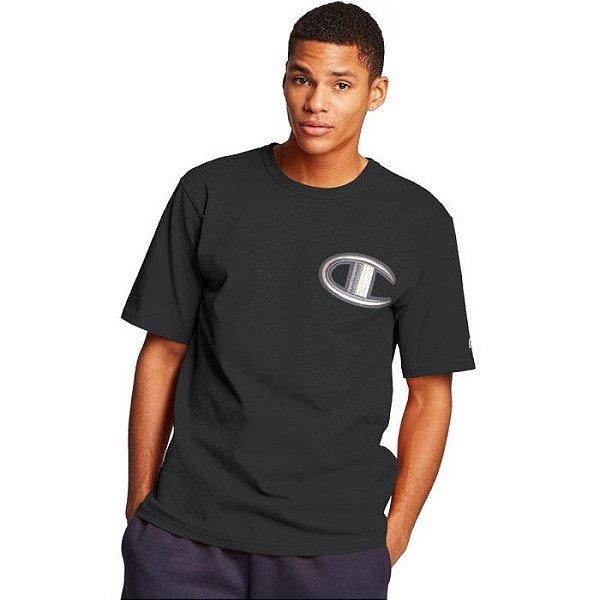 "CHAMPION - Camiseta Logo Patch C ""Preto"" -NOVO-"