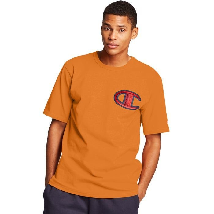 "CHAMPION - Camiseta Logo Patch C ""Laranja Queimado"" -NOVO-"
