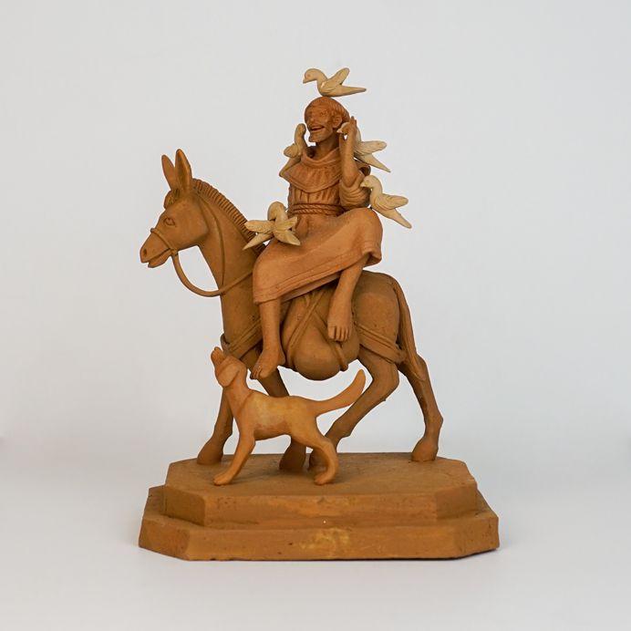Escultura de terracota São Francisco em cima do burro - Leonilson Arcanjo