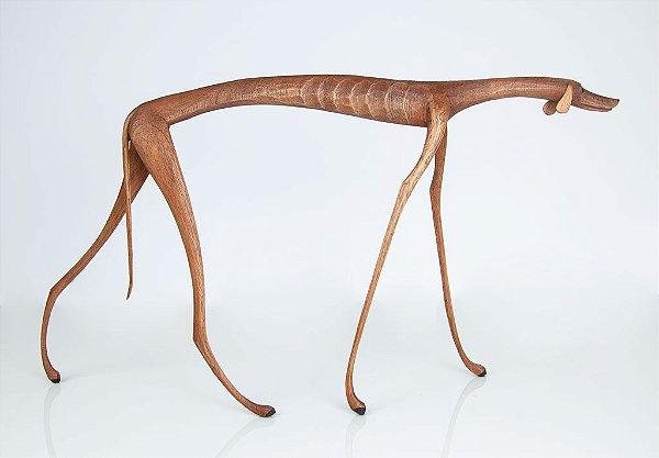 Escultura de madeira Cão pescoço baixo - Marcos Paulo Lau da Costa