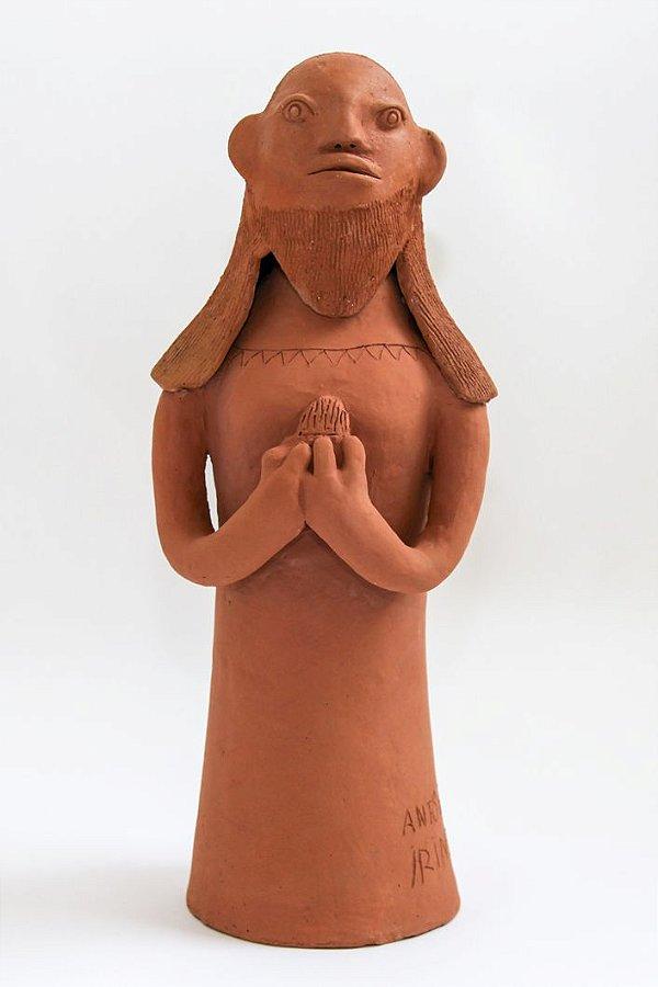 Escultura de terracota Sagrado Coração de José - Antônio de Irinéia