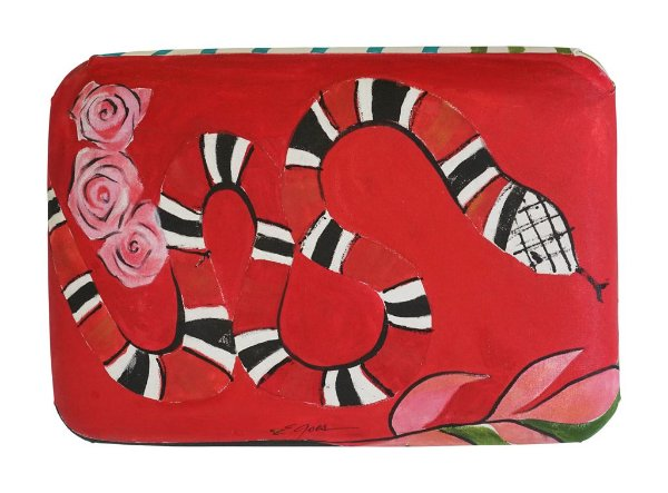 Banco para descanso Serpente e rosa - Eliane Goes