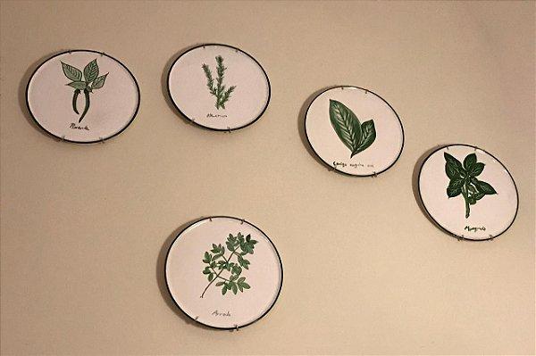 Conjunto de pratos de parede Plantas da Sorte - Silvana Tinelli
