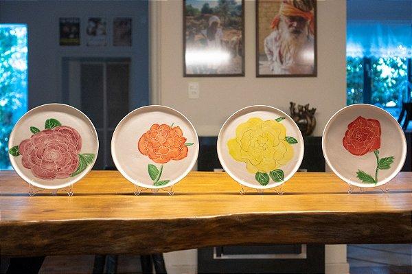 Pratos decorativos Rosas - Silvana Tinelli