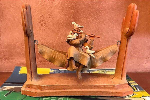 Escultura de terracota Francisco de Assis IV - Leonilson Arcanjo