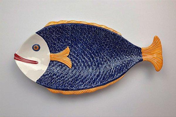 Travessa de cerâmica Peixe Azul - Silvana Tinelli