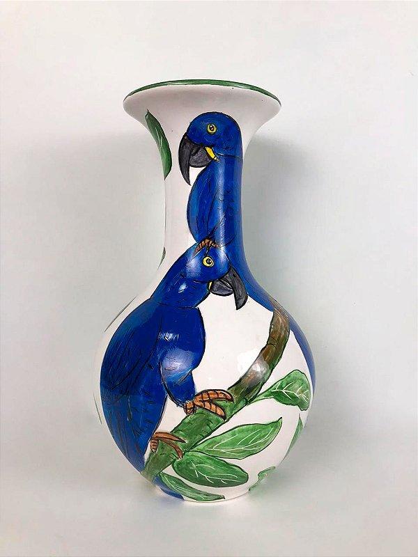 Vaso de cerâmica Araras azuis - Silvana Tinelli