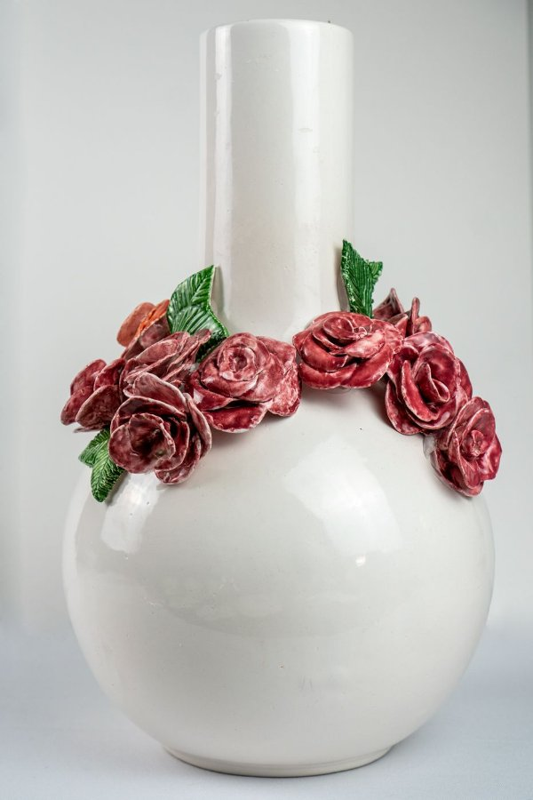 Vaso de cerâmica Flores rosas- Silvana Tinelli