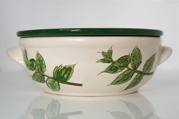 Porta Mozzarella de cerâmica Manjericão - Silvana Tinelli