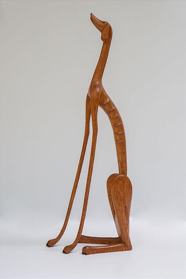 Escultura de madeira Cão sentado (Grande) - Marcos Paulo Lau da costa