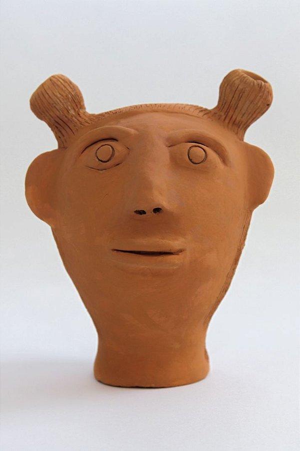 Escultura de terracota Cabeça Menina - Mestra Irinéia