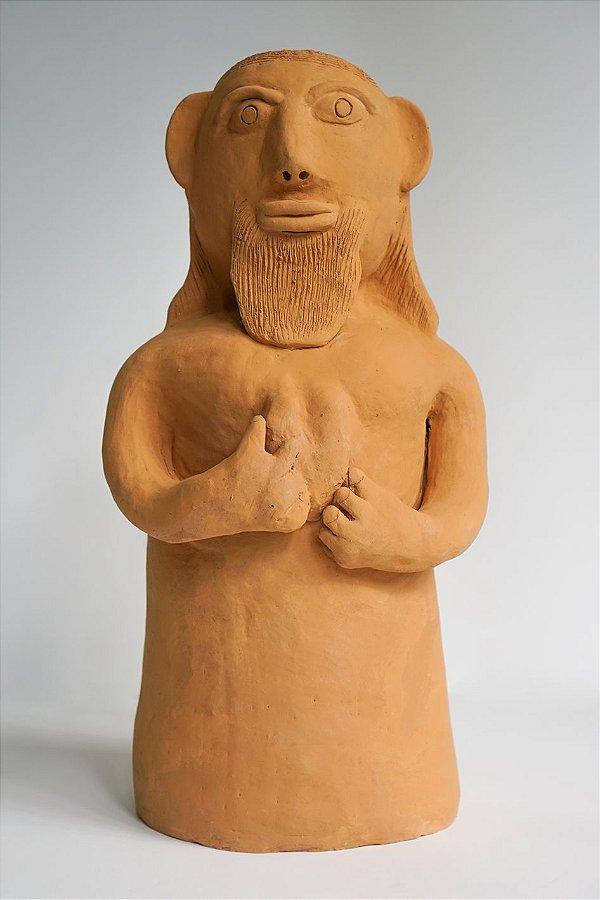 Escultura de terracota Sagrado Coração de José - Mestra Irinéia