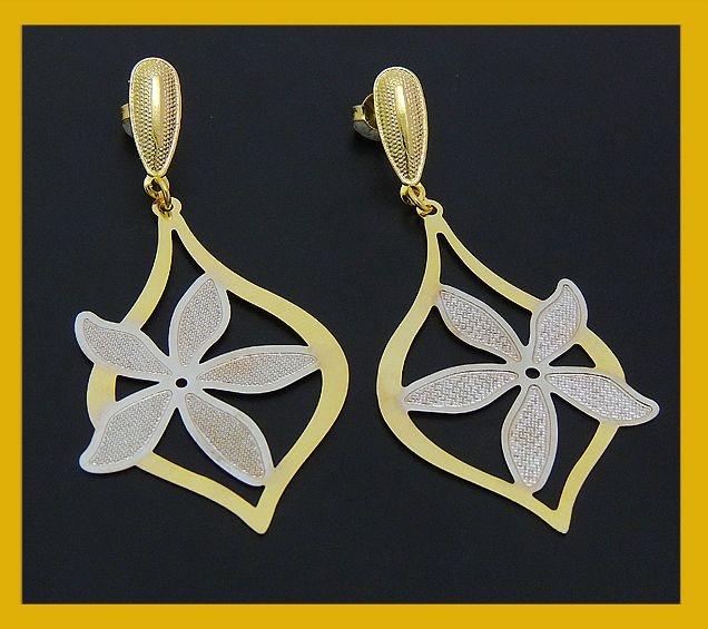 Brinco flor dois ouros