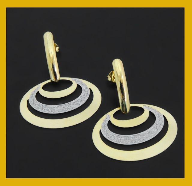 Brinco oval dois ouros