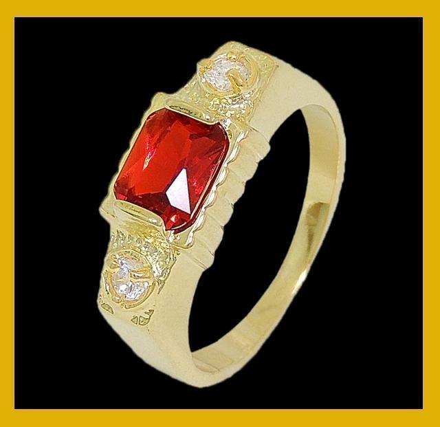 Anel de pedra vermelha com strass
