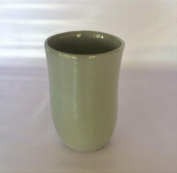 Cachepô Cerâmica Esmaltado, Cinza.