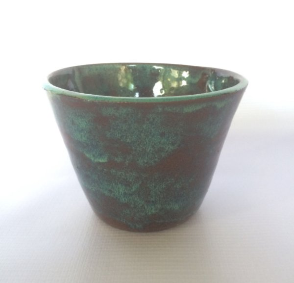 Cachepô Cerâmica Esmaltado, Azul Tiffany.