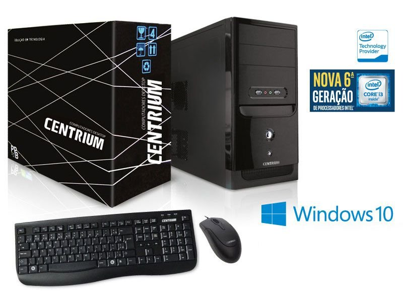 Computador Centrium Fasttop Intel Core I3-6100 3.7Ghz 4Gb Ddr4 500Gb