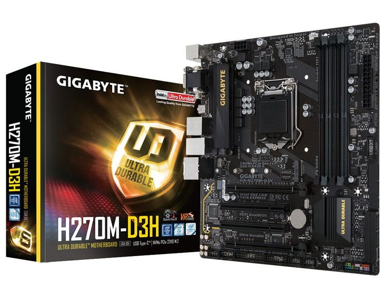 Placa mãe socket 1151 intel gigabyte ga h270m d3h ddr4 usb 3.1