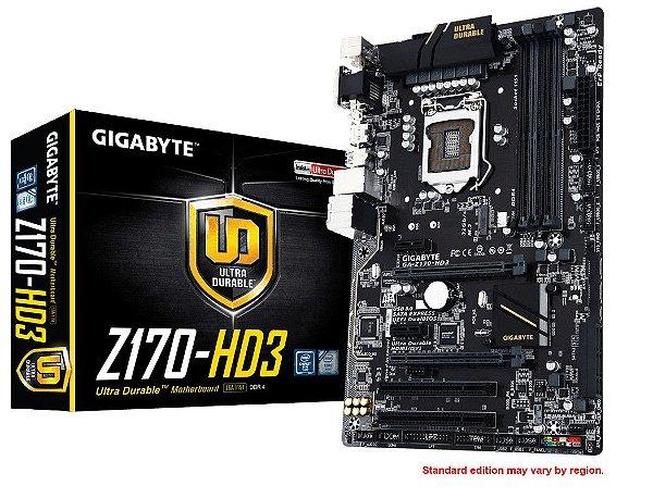 Placa Mãe Lga 1151 Intel Gigabyte Ga-Z170-Hd3 Atx Ddr3 Raid Crossfire