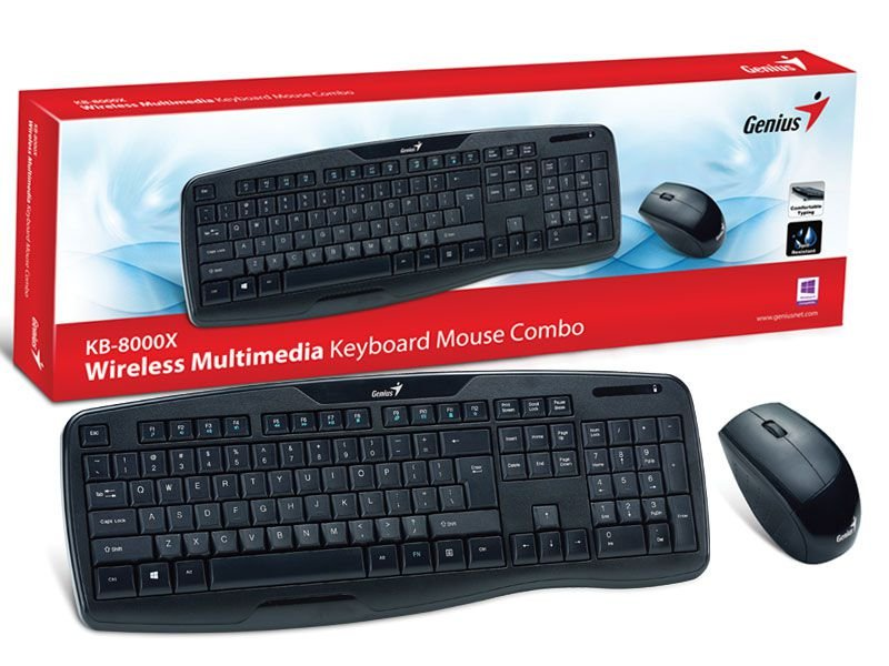 Kit Teclado E Mouse Wireless Genius Kb-8000X Usb 2.4 Ghz 1200Dpi