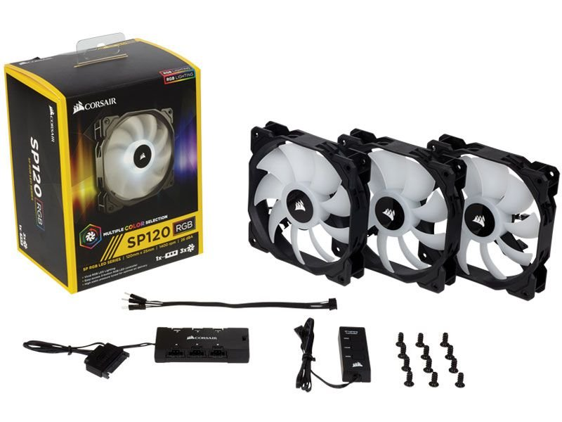 Cooler Corsair Co-9050061-Ww Sp High Rgb Led 120Mm + Hub Three Pack