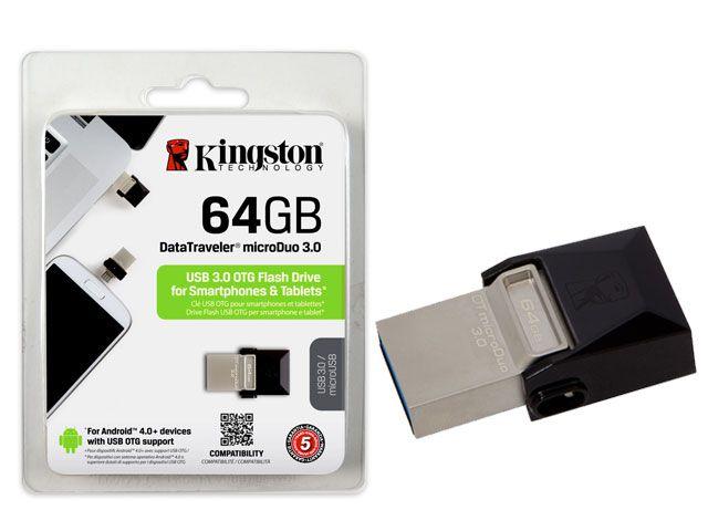 Pen Drive Smartphone Kingston Dtduo3/64Gb Dt Micro Duo 64Gb Usb E Micro Usb 3.0 Otg
