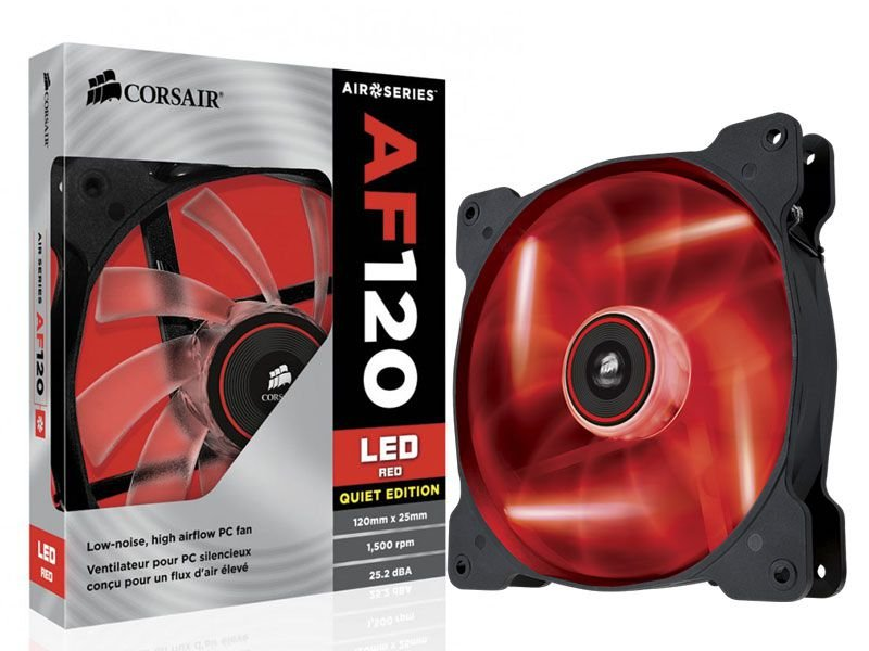 Cooler fan corsair af120 quiet edition 120 mm Co-9050015-Rled vermelha