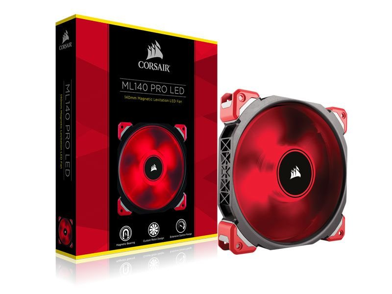Cooler fan corsair ml140 pro 140 mm vermelho, azul e branco