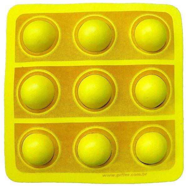 APLIQUE DECORATIVO   POP IT FIDGET TOYS 3D - AMARELO - REF 123019 - COM 01 UNIDADE - PIFFER