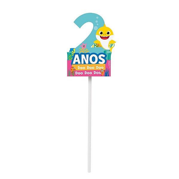 TOPO DE BOLO 2 ANOS FESTA BABY SHARK - 1 UNIDADE - CROMUS