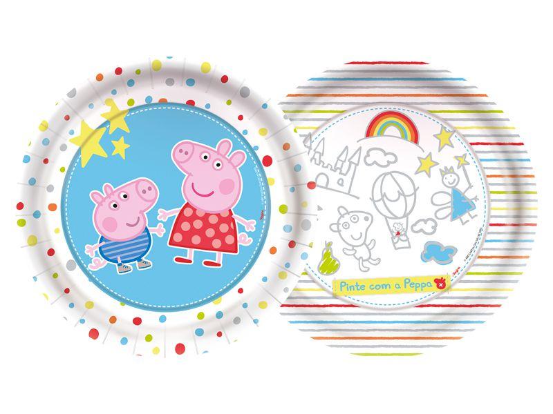 PRATO DESCARTÁVEL FESTA  PEPPA PIG BABY- 18CM - 08 UNIDADES - REGINA FESTAS