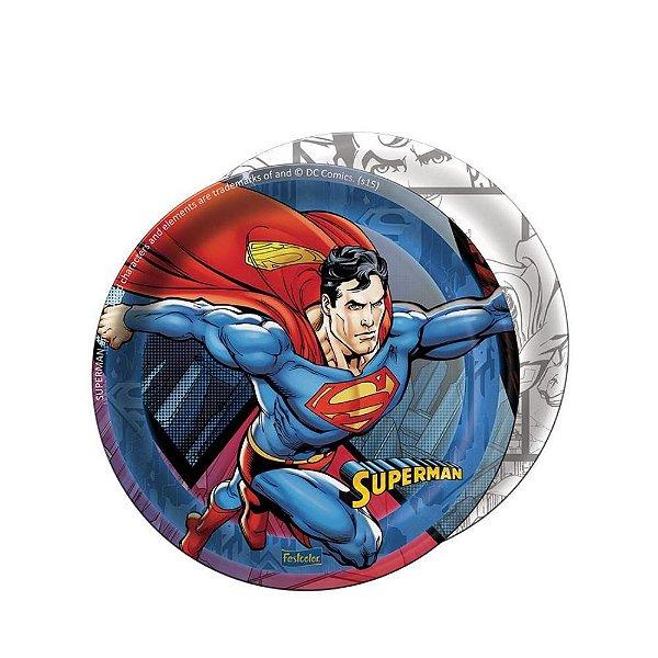PRATO DESCARTÁVEL SUPERMAN - 08 UNIDADES - 18CM - FESTCOLOR
