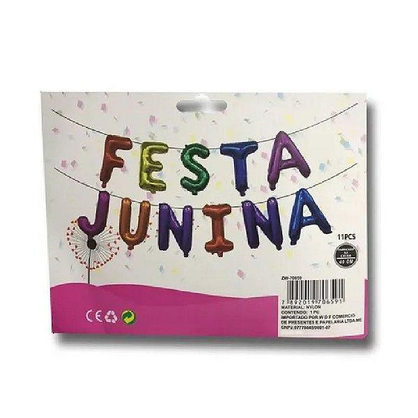 BALÃO METALIZADO FESTA JUNINA COLORIDO 40CM - UNITÁRIO - REF. ZW-70659 - LOJA DO ABENÇOADO